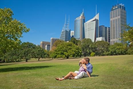 Фотосъемка история любви в Сиднее в Королевском Ботаническом саду