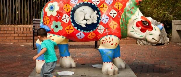 Выставка скульптер носорогов в Сиднее