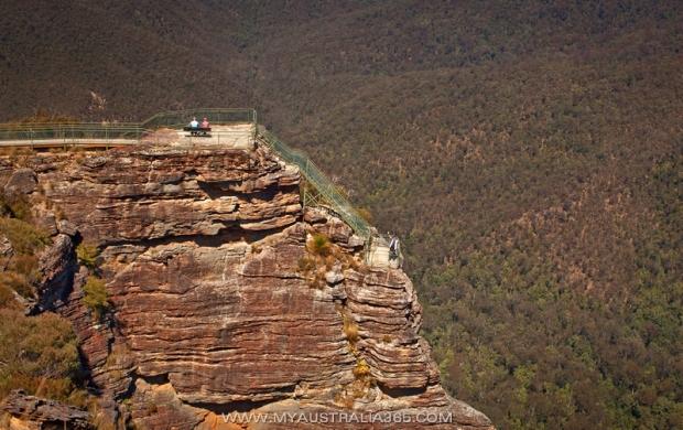 Смотровая площадка в Голубых горах Pulpit Rock lookout в Blackheath